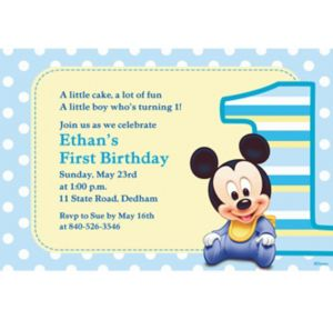 Custom Mickey Mouse 1st Birthday Invitations