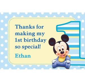 Custom Mickey Mouse 1st Birthday Thank You Notes