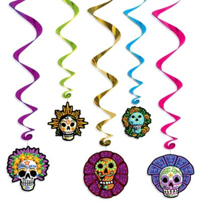 Day of the Dead Hanging Swirl Decorations 5ct