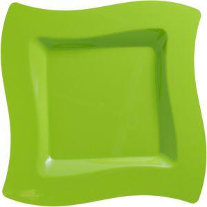 Kiwi Green Premium Plastic Wavy Square Dinner Plates 10ct