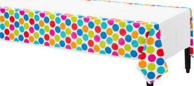 Cabana Polka Dot Plastic Table Cover 54in x 96in