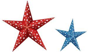 3D Patriotic Paper Stars 2ct