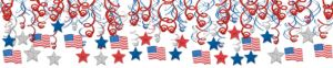Patriotic American Flag Swirl Decorations 30ct