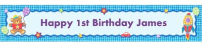 Hugs & Stitches Boy Custom Birthday Banner