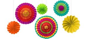 Fiesta Paper Fan Decorations 6ct