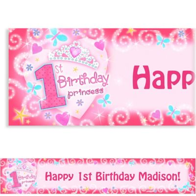 Custom Princess 1st Birthday Banner 6ft
