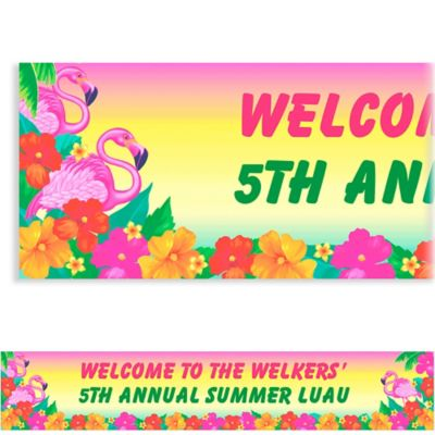 Custom Flamingo Beach Luau Banner 6ft