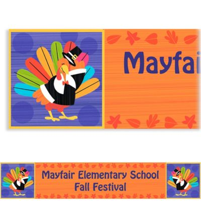 Custom Fun Turkey Thanksgiving Banner 6ft