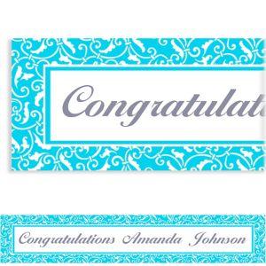 Custom Caribbean Blue Ornamental Scroll Banner 6ft