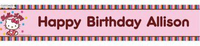 Hello Kitty Balloon Custom Birthday Banner