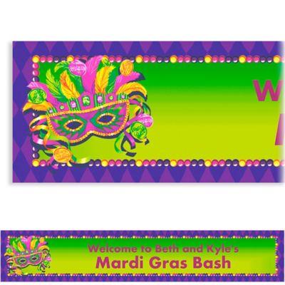 Custom Masquerade Mardi Gras Banner 6ft
