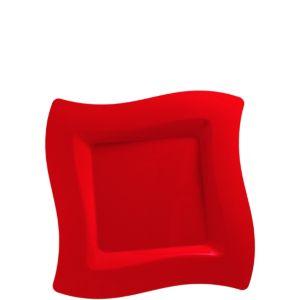 Red Premium Plastic Wavy Dessert Plates 10ct