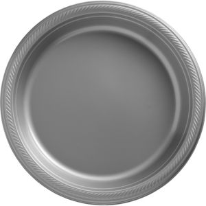 Big Party Pack Silver Plastic Dinner Plates 50ct