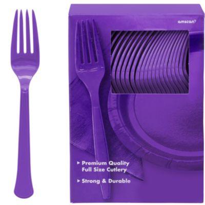 Purple Premium Plastic Forks 100ct