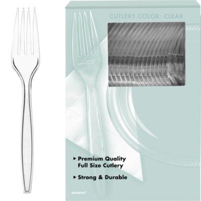 CLEAR Premium Plastic Forks 100ct