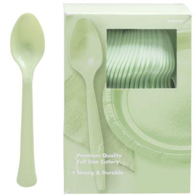 Leaf Green Premium Plastic Spoons 100ct