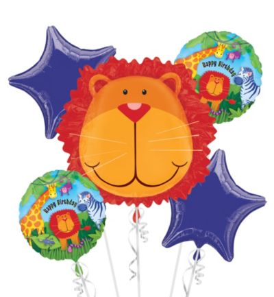 Happy Birthday Balloon Bouquet 5pc - Jungle Animals
