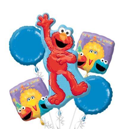 1st Birthday Sesame Street Balloon Bouquet 5pc