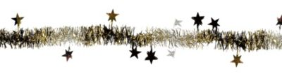 Black, Gold & Silver Star Tinsel Garland
