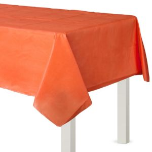 Orange Flannel-Backed Vinyl Tablecloth