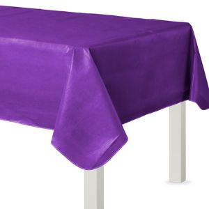 Purple Flannel-Backed Vinyl Tablecloth