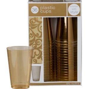 Gold Premium Plastic Tumblers 36ct