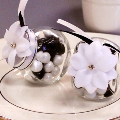 White Rhinestone Flower Wedding Favor Accessory 6ct