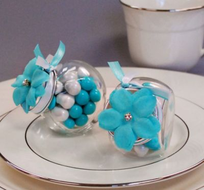 Robin's Egg Blue Rhinestone Flower Wedding Favor Accessory