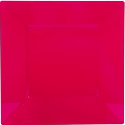 Raspberry Premium Plastic Square Dinner Plates 10ct
