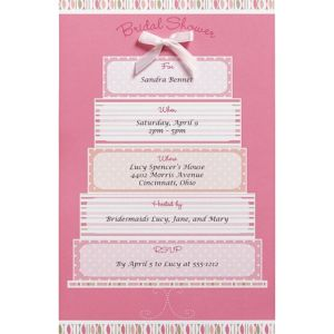 Pink Cake Printable Bridal Shower Invitation Kit 12ct