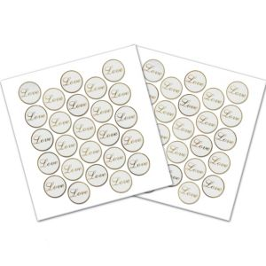 Gold Love Sticker Seals 50ct