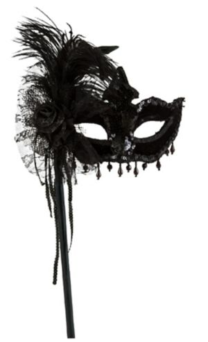 Black Magic Feather Masquerade Mask on a Stick