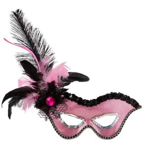 Pink Flirty Feather Masquerade Mask