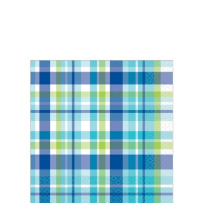 Caribbean Plaid Beverage Napkins 16ct