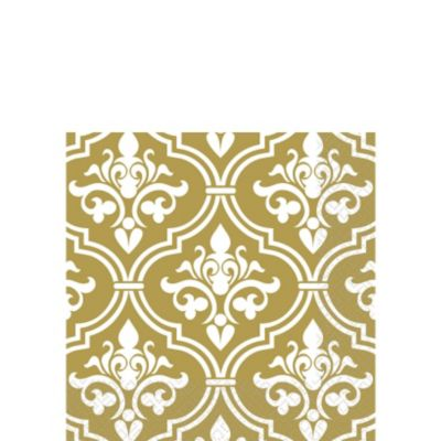 Gold Damask Beverage Napkins 16ct
