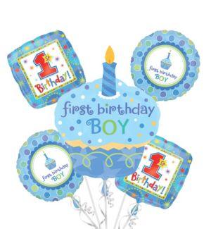 1st Birthday Balloon Bouquet 5pc - Sweet Little Cupcake Boy