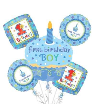 1st Birthday Balloon Bouquet 5pc - Sweet Little Cupcake Boy