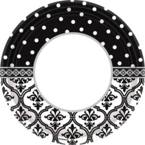 Damask & Polka Dot Dinner Plates 18ct
