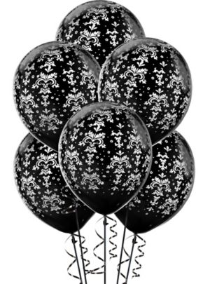 Damask Balloons 20ct - Black & White