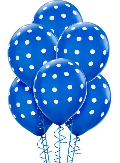 Royal Blue Polka Dot Balloons 6ct