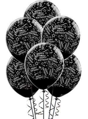 Black Birthday Balloons 6ct - Confetti