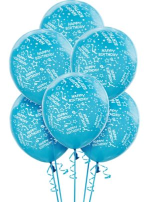Caribbean Blue Birthday Balloons 6ct - Confetti