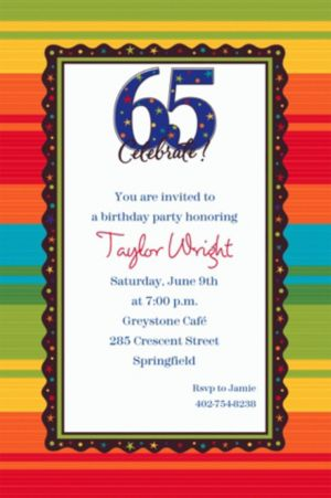 Custom A Year to Celebrate 65th Invitations