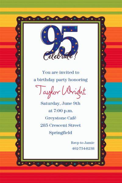 A Year to Celebrate 95 Custom Invitation