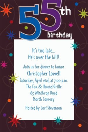 Custom The Party Continues 55th Invitations