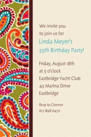Custom Paisley Brights Invitations