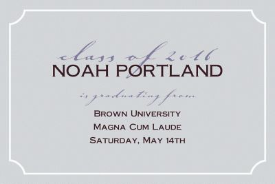 Gray Formal Corners Custom Graduation Announcement