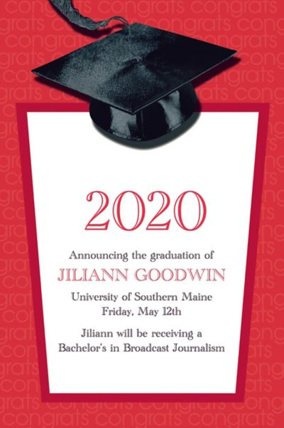 Red Congrats Grad Custom Graduation Announcement