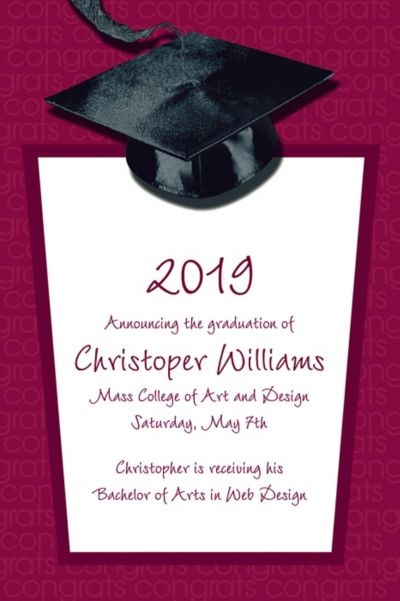 Custom Berry Congrats Grad Announcements