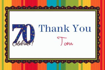 A Year to Celebrate 70 Custom Thank You Note